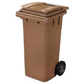 Plastová popelnice na BIO odpad, 120 l hnědá