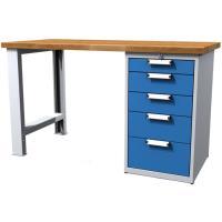 Dílenský stůl pracovní - šířka 1200mm ALCERA UNI se zásuvkovým boxem