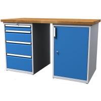 Dílenský stůl pracovní - šířka 1500mm ALCERA PROFI se skříňkou a zásuvkami