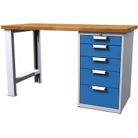 Dílenský stůl pracovní - šířka 1500mm ALCERA UNI se skříňkou