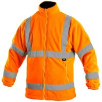Fleecová bunda PRESTON oranžová s výstražnými prvky, vel. M