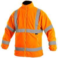 Fleecová bunda PRESTON oranžová s výstražnými prvky, vel. XXXL
