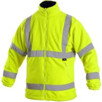 Fleecová bunda PRESTON žlutá s výstražnými prvky, vel. S
