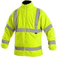 Fleecová bunda PRESTON žlutá s výstražnými prvky, vel. XXXL