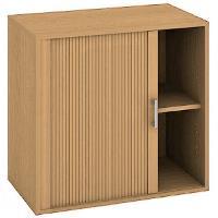 Kancelářská skříň nízká se zámkem DZ 2 80 03 L - buk