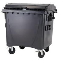 Kontejner na odpad 1100l ploché víko černý