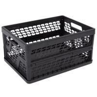 Plastová přepravka děrovaná, skládací, černá 31l
