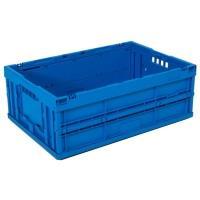 Plastová přepravka plná, skládací, modrá