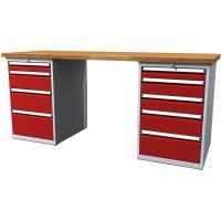 Pracovní stůl dílenský - šířky 2000mm ALCERA PROFI se skříňkami