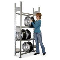 Přídavný kovový bezšroubový regál na disky 2000x1000x300 mm, 4 police o nosnosti 150 kg