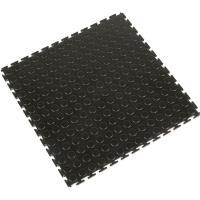 Průmyslová PVC dláždicová podlahovina COBA Tough Lock černá 0,5 x 0,5m x 7mm