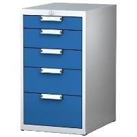 Skříňka na nářadí pod pracovní stůl ALCERA UNI 5 x zásuvka / barva zásuvek:tmavě modrá RAL 5010