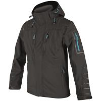 Softshellová bunda 4TECH černá, modré doplňky vel. XXXL