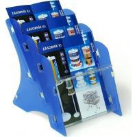 Stojan na tiskoviny MK3 3xA4 PP stolní modrý