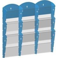 Stojan na tiskoviny nástěnný 3x3 kapsy A4 modrý