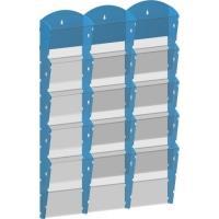 Stojan na tiskoviny nástěnný 3x5 kapes A4 modrý