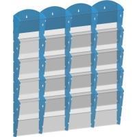 Stojan na tiskoviny nástěnný 4x5 kapes A4 modrý