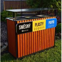 Venkovní odpadkový TROJKOŠ 3 x 65 l, dřevěné obložení