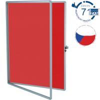 Vitrína TEXT EkoTAB, textilní 75 x 100 cm, červená