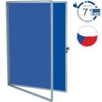 Vitrína TEXT EkoTAB, textilní 75 x 100 cm, modrá