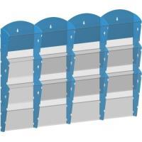 Zásobník na tiskoviny nástěnný 4x3 kapsy A4 modrý