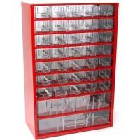 Závěsná skříňka se zásuvkami 35A/2B/1C červená